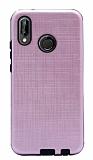 Eiroo Panther Huawei P20 Lite Silikon Kenarlı Açık Pembe Rubber Kılıf