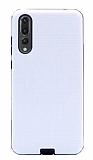 Eiroo Panther Huawei P20 Pro Silikon Kenarlı Beyaz Rubber Kılıf