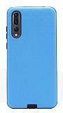 Eiroo Panther Huawei P20 Pro Silikon Kenarlı Mavi Rubber Kılıf