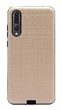 Eiroo Panther Huawei P20 Pro Silikon Kenarlı Gold Rubber Kılıf