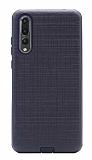 Eiroo Panther Huawei P20 Pro Silikon Kenarlı Siyah Rubber Kılıf