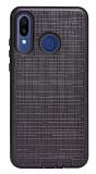 Eiroo Panther Huawei P30 Lite Silikon Kenarlı Siyah Rubber Kılıf