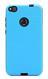 Eiroo Panther Huawei P9 Lite 2017 Silikon Kenarlı Mavi Rubber Kılıf