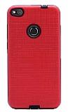 Eiroo Panther Huawei P9 Lite 2017 Silikon Kenarlı Kırmızı Rubber Kılıf