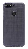 Eiroo Panther Huawei Y7 2018 Silikon Kenarlı Siyah Rubber Kılıf