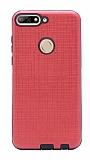 Eiroo Panther Huawei Y7 2018 Silikon Kenarlı Kırmızı Rubber Kılıf
