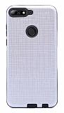 Eiroo Panther Huawei Y7 2018 Silikon Kenarlı Silver Rubber Kılıf