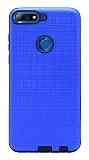 Eiroo Panther Huawei Y7 2018 Silikon Kenarlı Lacivert Rubber Kılıf