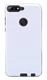 Eiroo Panther Huawei Y7 2018 Silikon Kenarlı Beyaz Rubber Kılıf