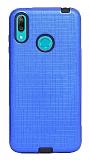 Eiroo Panther Huawei Y7 Prime 2019 Silikon Kenarlı Lacivert Rubber Kılıf