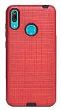 Eiroo Panther Huawei Y7 Prime 2019 Silikon Kenarlı Kırmızı Rubber Kılıf