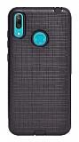 Eiroo Panther Huawei Y7 Prime 2019 Silikon Kenarlı Siyah Rubber Kılıf