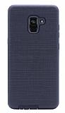 Eiroo Panther Samsung Galaxy A6 Plus 2018 Silikon Kenarlı Siyah Rubber Kılıf