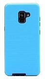 Eiroo Panther Samsung Galaxy A6 Plus 2018 Silikon Kenarlı Mavi Rubber Kılıf