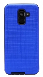 Eiroo Panther Samsung Galaxy A6 Plus 2018 Silikon Kenarlı Lacivert Rubber Kılıf