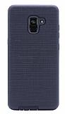 Eiroo Panther Samsung Galaxy A8 Plus 2018 Silikon Kenarlı Siyah Rubber Kılıf