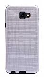 Eiroo Panther Samsung Galaxy J4 Core Silikon Kenarlı Silver Rubber Kılıf