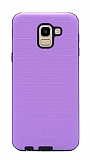 Eiroo Panther Samsung Galaxy J6 Silikon Kenarlı Mor Rubber Kılıf