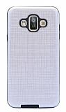 Eiroo Panther Samsung Galaxy J7 Duo Silikon Kenarlı Silver Rubber Kılıf
