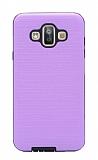 Eiroo Panther Samsung Galaxy J7 Duo Silikon Kenarlı Mor Rubber Kılıf