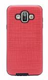 Eiroo Panther Samsung Galaxy J7 Duo Silikon Kenarlı Kırmızı Rubber Kılıf