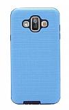 Eiroo Panther Samsung Galaxy J7 Duo Silikon Kenarlı Mavi Rubber Kılıf