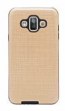 Eiroo Panther Samsung Galaxy J7 Duo Silikon Kenarlı Gold Rubber Kılıf