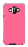 Eiroo Panther Samsung Galaxy J7 Duo Silikon Kenarlı Pembe Rubber Kılıf
