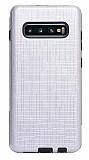Eiroo Panther Samsung Galaxy S10e Silikon Kenarlı Silver Rubber Kılıf
