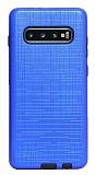 Eiroo Panther Samsung Galaxy S10e Silikon Kenarlı Lacivert Rubber Kılıf