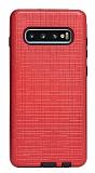 Eiroo Panther Samsung Galaxy S10e Silikon Kenarlı Kırmızı Rubber Kılıf