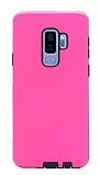 Eiroo Panther Samsung Galaxy S9 Plus Silikon Kenarlı Pembe Rubber Kılıf