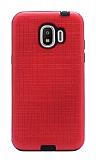 Eiroo Panther Samsung Grand Prime Pro J250F Silikon Kenarlı Kırmızı Rubber Kılıf