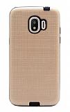 Eiroo Panther Samsung Grand Prime Pro J250F Silikon Kenarlı Gold Rubber Kılıf