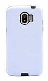 Eiroo Panther Samsung Grand Prime Pro J250F Silikon Kenarlı Beyaz Rubber Kılıf
