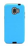 Eiroo Panther Samsung Grand Prime Pro J250F Silikon Kenarlı Mavi Rubber Kılıf