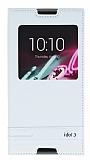 Alcatel OneTouch idol 3 5.5 Gizli Mıknatıslı Pencereli Beyaz Deri Kılıf