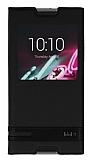 Alcatel OneTouch idol 3 5.5 Gizli Mıknatıslı Pencereli Siyah Deri Kılıf