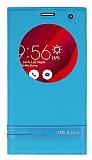 Asus Zenfone 2 Laser 6 inç Gizli Mıknatıslı Pencereli Mavi Deri Kılıf