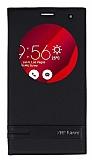 Asus Zenfone 2 Laser 6 inç Gizli Mıknatıslı Pencereli Siyah Deri Kılıf