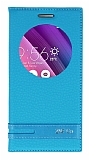 Asus ZenFone Go ZC500TG Gizli Mıknatıslı Pencereli Mavi Deri Kılıf