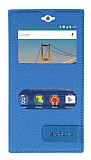 General Mobile Android One / General Mobile GM 5 Gizli Mıknatıslı Pencereli Mavi Deri Kılıf