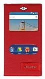 General Mobile Android One / General Mobile GM 5 Gizli Mıknatıslı Pencereli Kırmızı Deri Kılıf