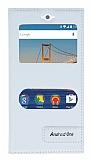 General Mobile Android One / General Mobile GM 5 Gizli Mıknatıslı Pencereli Beyaz Deri Kılıf
