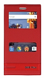 General Mobile GM 5 Plus Gizli Mıknatıslı Pencereli Kırmızı Deri Kılıf