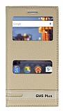 General Mobile GM 5 Plus Gizli Mıknatıslı Pencereli Gold Deri Kılıf