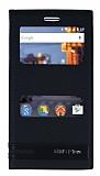 General Mobile GM 5 Plus Gizli Mıknatıslı Pencereli Siyah Deri Kılıf