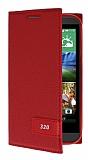 HTC Desire 320 Gizli Mıknatıslı Yan Kapaklı Kırmızı Deri Kılıf