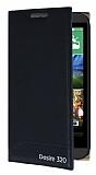 HTC Desire 320 Gizli Mıknatıslı Yan Kapaklı Siyah Deri Kılıf