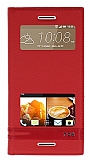 HTC Desire 728G Gizli Mıknatıslı Pencereli Kırmızı Deri Kılıf